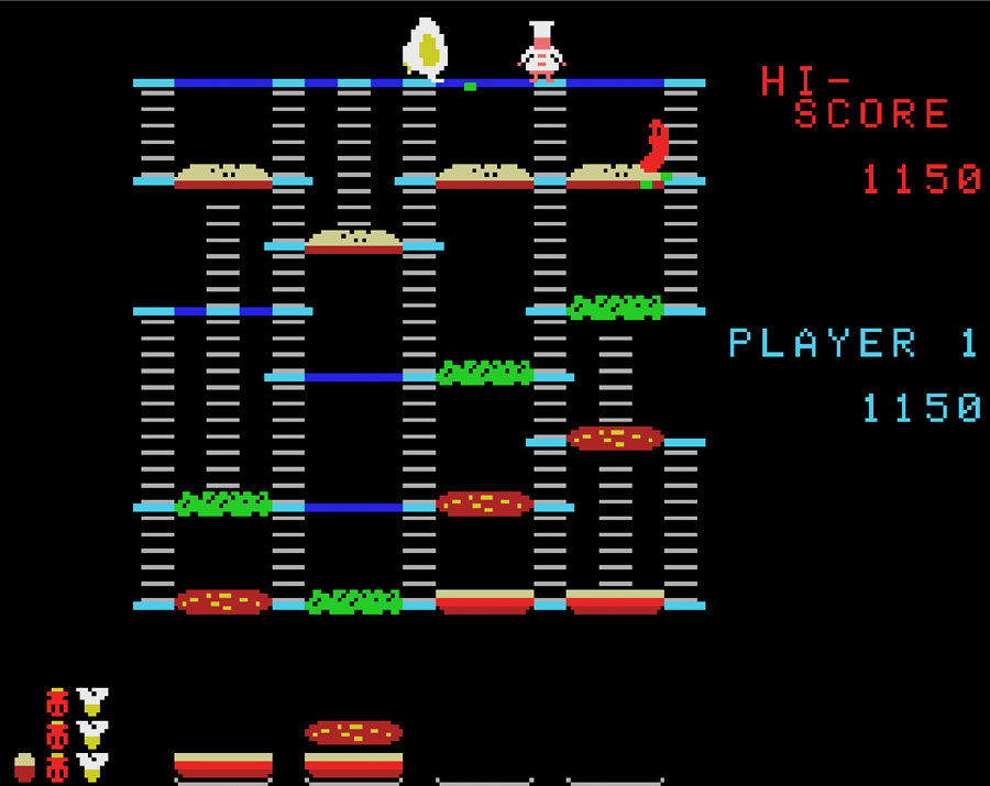 Coleco's BurgerTime for Colecovision screenshot Classic Retro Gaming Video Game Review
